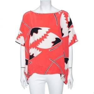 Diane Von Furstenberg Coral Floral Printed Silk Oversized Hanky Tunic S
