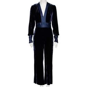 Diane Von Furstenberg Navy Blue Velvet Claude Satin-Trimmed Jumpsuit M
