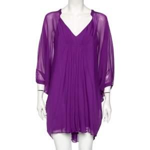 Diane von Furstenberg Purple Silk Fleurette Flutter-Sleeve Mini Dress S