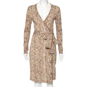 Diane von Furstenberg Brown Animal Print Knit Linda Wrap Dress M