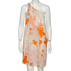 Diane Von Furstenberg Orange Printed Silk Liluye One Shoulder Short Dress M