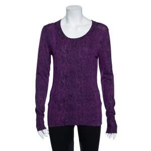 Diane Von Furstenberg Purple Animal Print Knit Neva Top S