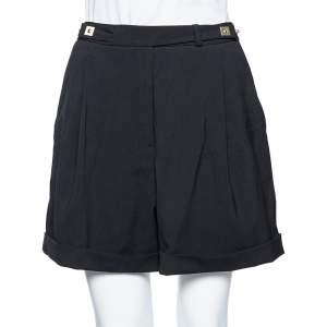 Diane von Furstenberg Black Wool Snap Button Detail High Waist Shorts M