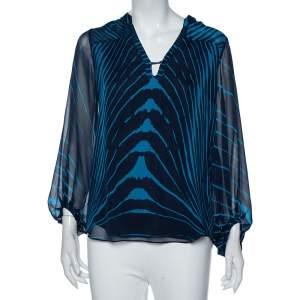 Diane Von Furstenberg Blue Tanyana Clean Print Silk Blouse M