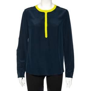 Diane Von Furstenberg Navy Blue Silk Maisy Contrast Collar Trim Detail Shirt L