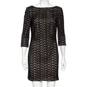 Diane von Furstenberg Black Floral Pattern Cutout Lace Dress M