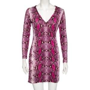 Diane von Furstenberg Purple Animal Print Silk Reina Long Sleeve Dress S