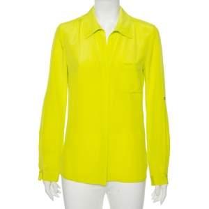 Diane Von Furstenberg Bright Green Silk Lorerlei Two Shirt M