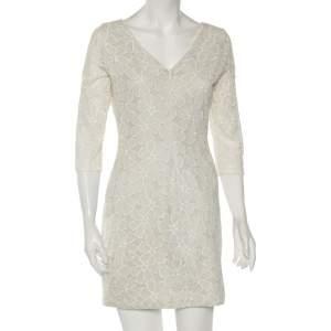 Diane Von Furstenberg Pale Grey & Cream Floral Embroidered Silk Sarita Dress M