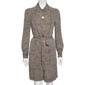 Diane von Furstenberg Monochrome Silk Button Front New Tunis Dress M