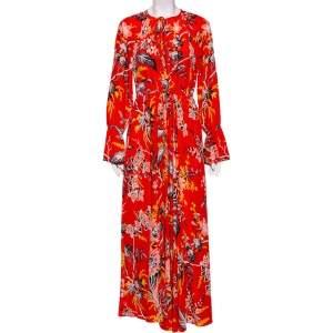 Diane von Furstenberg Orange Floral Printed Silk Bethany Midi Dress M