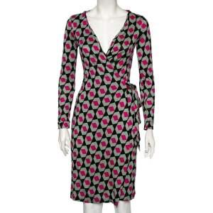 Diane Von Furstenberg Multicolored Printed Silk New Julian Wrap Dress S