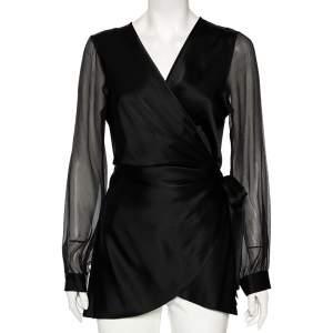 Diane von Furstenberg Black Satin Klee Sheer Sleeve Wrap Blouse M