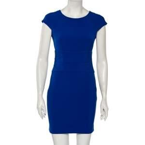 Diane Von Furstenberg Blue Knit Ruched Waist Detailed Dress S