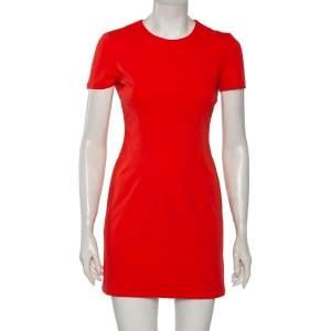 Diane Von Furstenberg Atomic Orange Fitted Short Sleeve Yazmine Dress S