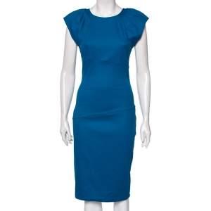 Diane Von Furstenberg Blue Wool Thane Gathered Detailed Dress S