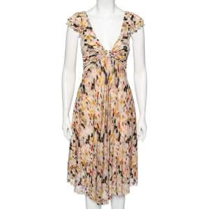 Diane von Furstenberg Multicolor Peony Printed Silk Knit Plunge Neck Eliet Dress S