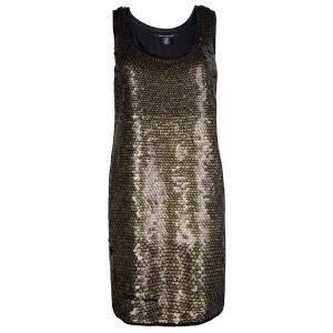 Diane von Furstenberg Gold Sequin Embellished Sleeveless Chika Dress M