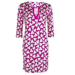 Diane Von Furstenberg Pink Printed Jersey Reina Dress M