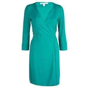 Diane Von Furstenberg Green Knit New Julian Two Mini Wrap Dress S