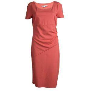 Diane von Furstenberg Coral Red Stretch-Cady Gathered Bevina Dress L