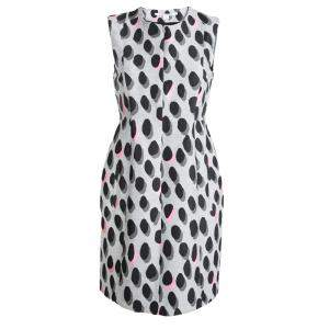 Diane Von Furstenberg Grey New Summer Mini Animal Dots Sleeveless Dress S
