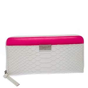 Diane Von Furstenberg White Python Embossed Leather Zip Around Wallet
