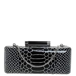 Diane Von Furstenberg Black/White Python Effect Patent Leather Tonda Chain Clutch