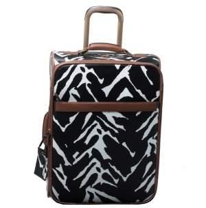 Diane Von Furstenberg Black/White Printed Canvas Rolling Suitcase