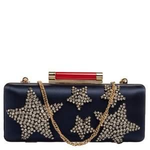 Diane Von Furstenberg Blue Satin Star Crystal Embellished Tonda Clutch