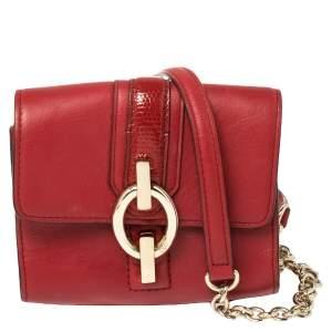Diane Von Furstenberg Red Leather Micro Mini Sutra Crossbody Bag