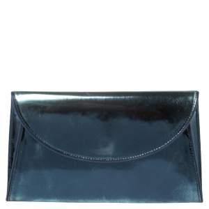 Diane Von Furstenberg Metallic Blue Patent Leather Clutch