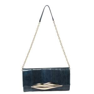 Diane Von Furstenberg Blue Snakeskin Carolina Lips Crossbody Bag