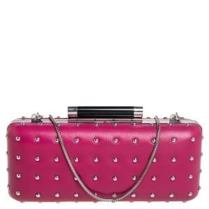 Diane Von Furstenberg Pink Leather Studded Clutch