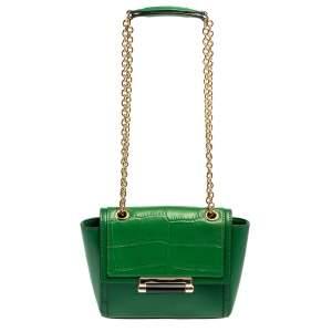 Diane Von Furstenberg Green Croc Embossed and Leather Shoulder Bag