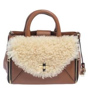 Diane von Furstenberg Brown Leather And Cream Shearling Fur Mini Secret Agent Tote