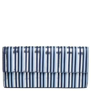 Diane Von Furstenberg Blue Leather and Suede Stripe East West Envelope Clutch