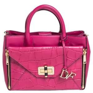 Diane Von Furstenberg Pink Croc Embossed Leather Secret Agent Tote