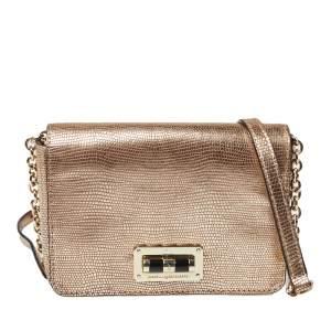Diane Von Furstenberg Gold Lizard Embossed Leather 440 Gallery Bellini Crossbody Bag
