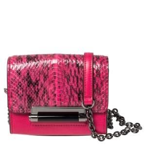 Diane von Furstenberg Pink Leather and Python Mini Highline Micro Crossbody Bag