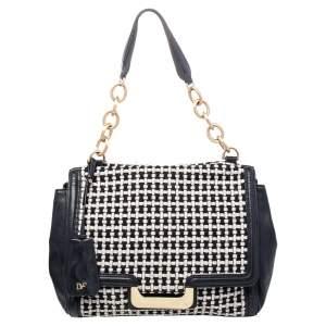 Diane von Furstenberg Black Leather And Fabric Shoulder Bag