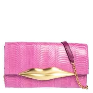 Diane von Furstenberg Pink Snakeskin and Leather Carolina Lips Chain Clutch