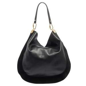 Diane Von Furstenberg Black Leather and Suede Moon Whisky Hobo