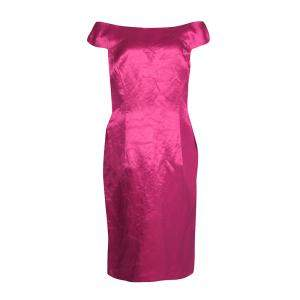 Dior Fuschia Pink Satin Boat Neck Sheath Dress XL