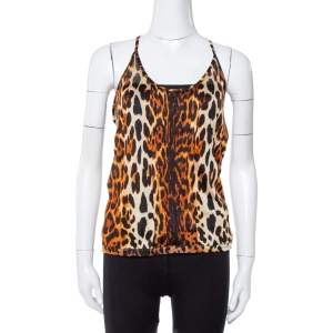 Dior Brown Leopard Print Knit Pleat Front Tank Top L