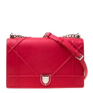 Dior Red Leather Large Diorama Flap Shoulder bag