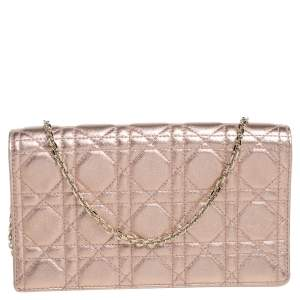 Dior Metallic Rose Gold Cannage Leather Lady Dior Pouch