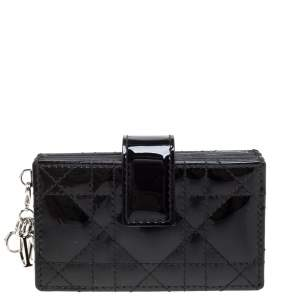 Dior Black Patent Cannage Leather Gusset Card Holder