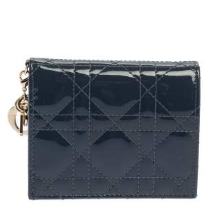 Dior Dark Grey Cannage Patent Leather Mini Lady Dior Wallet