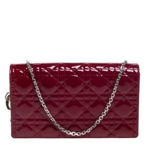 Dior Red Patent Leather Lady Dior Chain Clutch